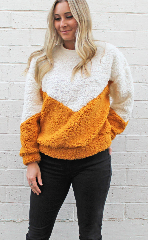 chilly days ahead sherpa sweater [mustard]