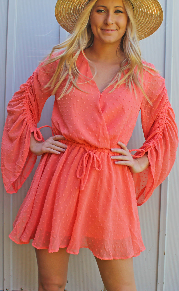 apple of my eye romper [coral] - Grace and Edge Boutique