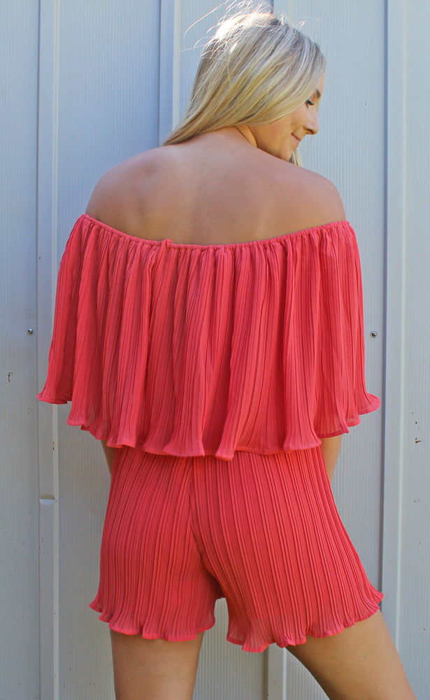 bound for the beach romper [coral] - Grace and Edge Boutique