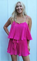 DAMAGED sipping by the shore romper [pink] - Grace and Edge Boutique