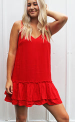 pretty & patriotic ruffle dress [red] - Grace and Edge Boutique
