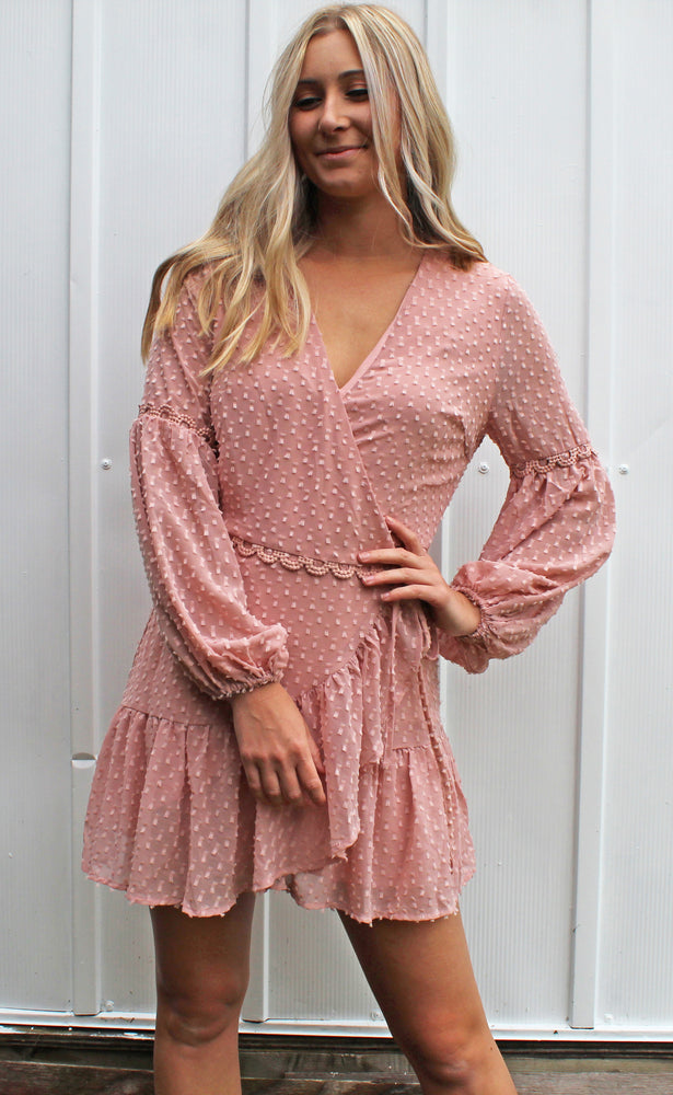 just right ruffle wrap dress [pink] - Grace and Edge Boutique