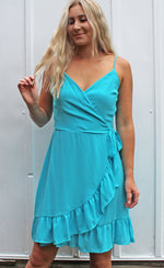 mediterranean waters wrap dress [blue] - Grace and Edge Boutique