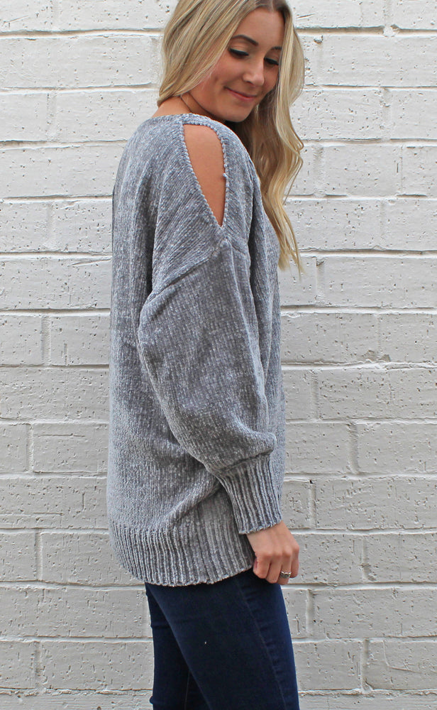the comfy cold shoulder [gray] - Grace and Edge Boutique