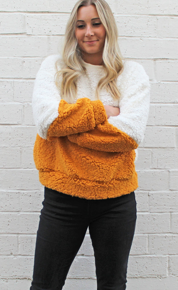 chilly days ahead sherpa sweater [mustard] - Grace and Edge Boutique
