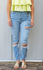 RESTOCK! relax the day away distressed mom jeans [light denim] - Grace and Edge Boutique