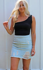 tropical twist mini skirt [light denim]