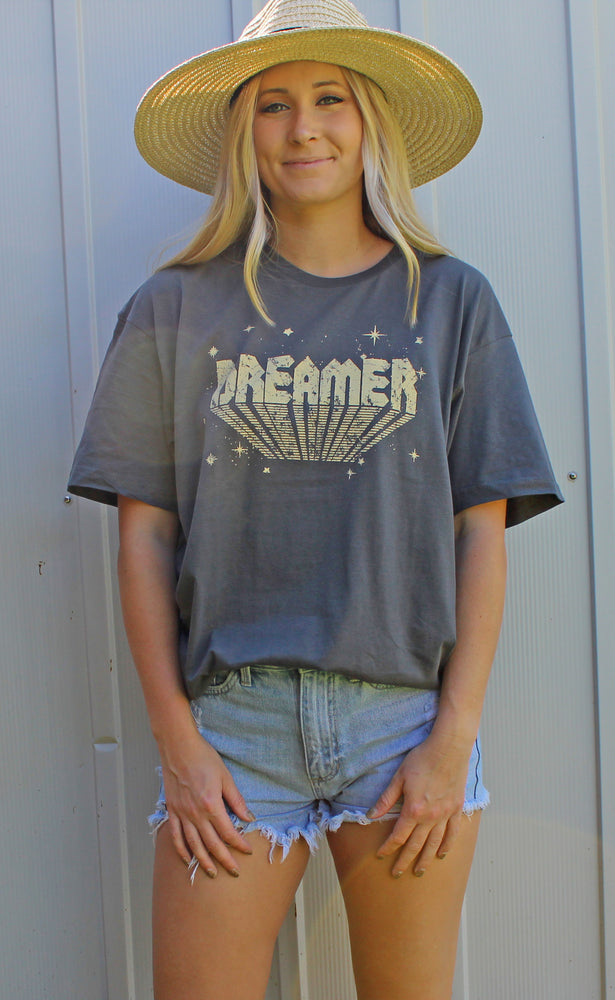 dreamer graphic tee [charcoal] - Grace and Edge Boutique
