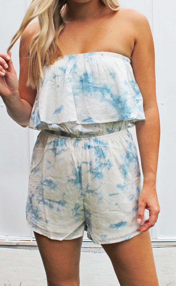 tan lines in the tropic romper [blue] - Grace and Edge Boutique