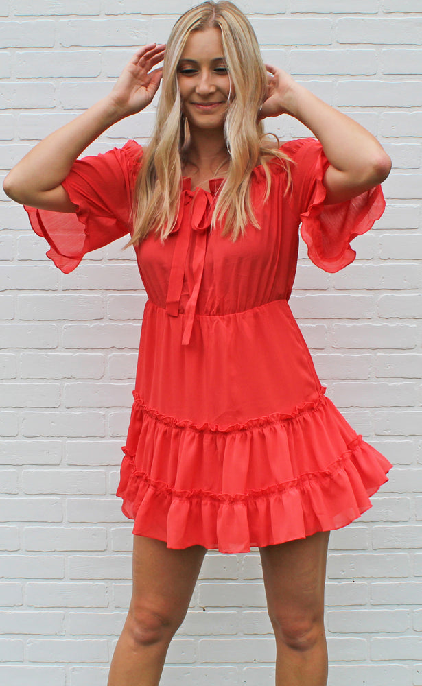 on island time dress [coral] - Grace and Edge Boutique