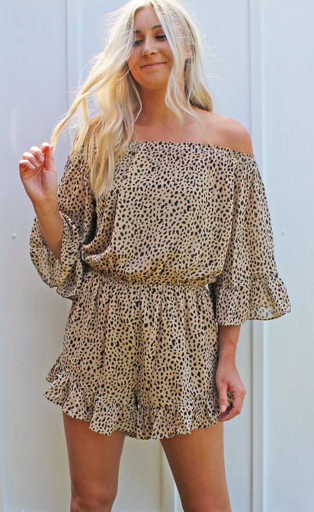 RESTOCK! | wild thing off the shoulder romper [taupe] - Grace and Edge Boutique