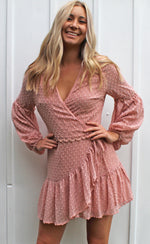 just right ruffle wrap dress [pink]