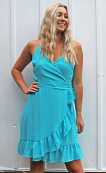 mediterranean waters wrap dress [blue]