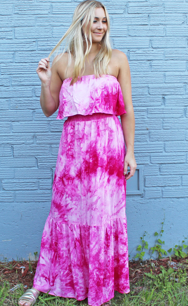 caribbean chillin tie dye maxi [hot pink]