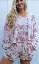 groovy tie dye lounge top [pink] - Grace and Edge Boutique
