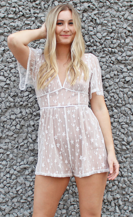 cosmo cutie romper [white] - Grace and Edge Boutique