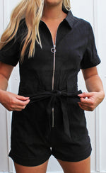 straight forward romper - black - Grace and Edge Boutique