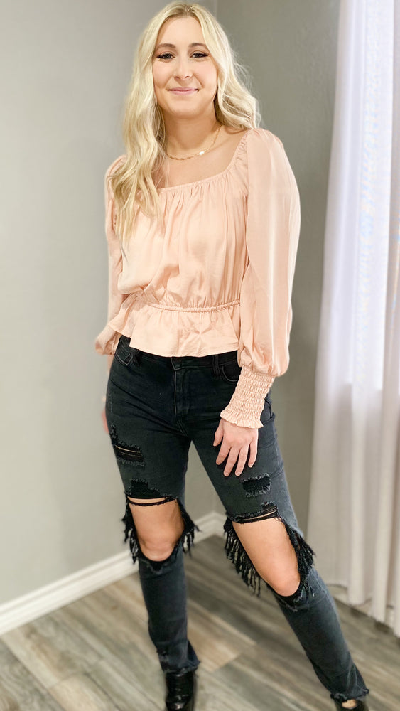 satin peplum with smoked sleeves in blush