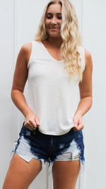 just your basic waffle knit tank - ivory - Grace and Edge Boutique