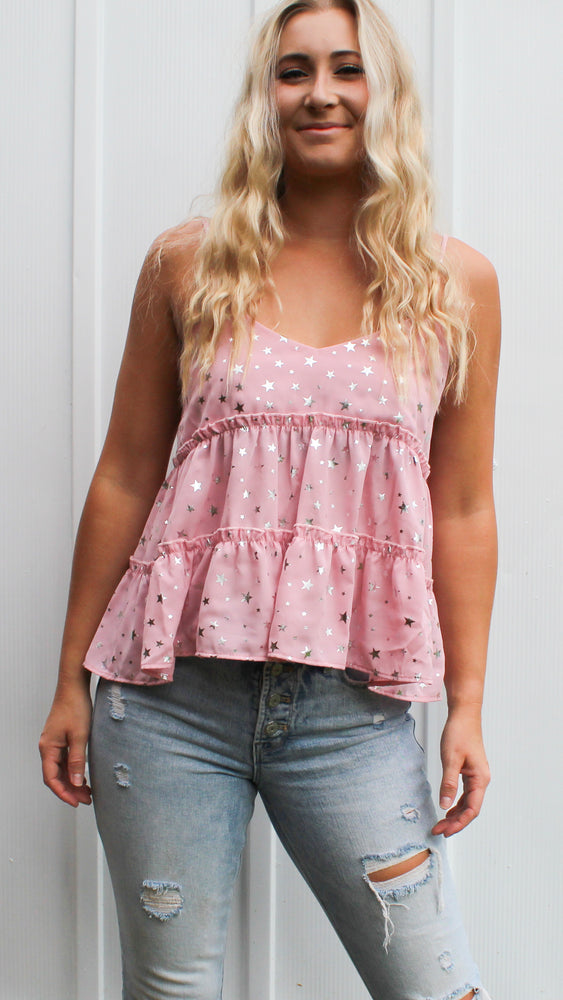 shinning star tank [pink] - Grace and Edge Boutique