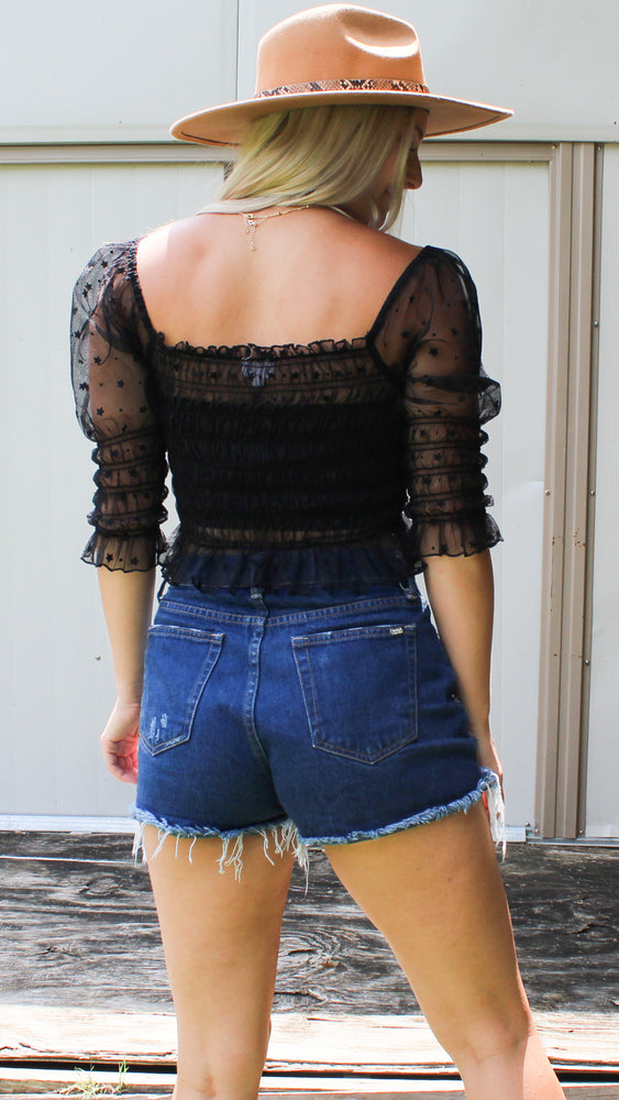 starry night crop [black] - Grace and Edge Boutique