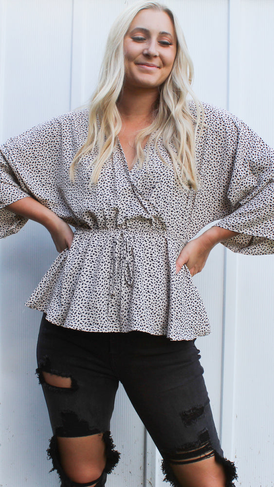warm wishes animal print top [ivory] - Grace and Edge Boutique