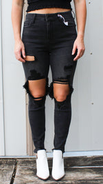 open knee black denim - Grace and Edge Boutique