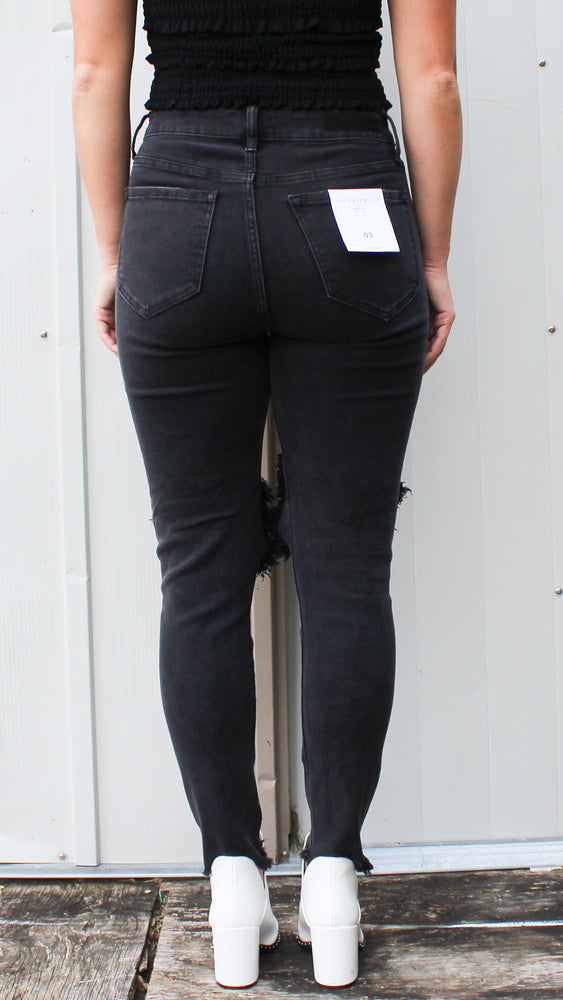 open knee black denim