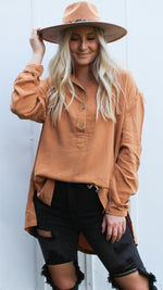 the butterfly button up [camel] - Grace and Edge Boutique