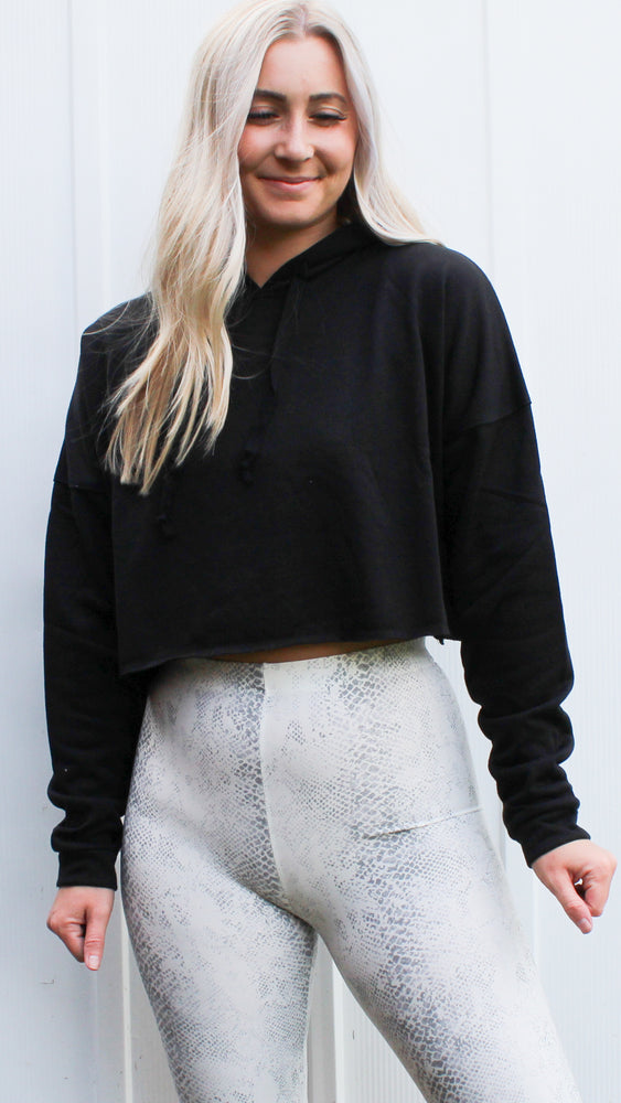 cool & casual crop hoodie [black] - Grace and Edge Boutique