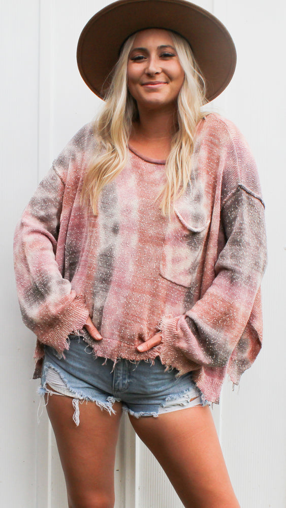 hey there tie dye sweater [mauve] - Grace and Edge Boutique