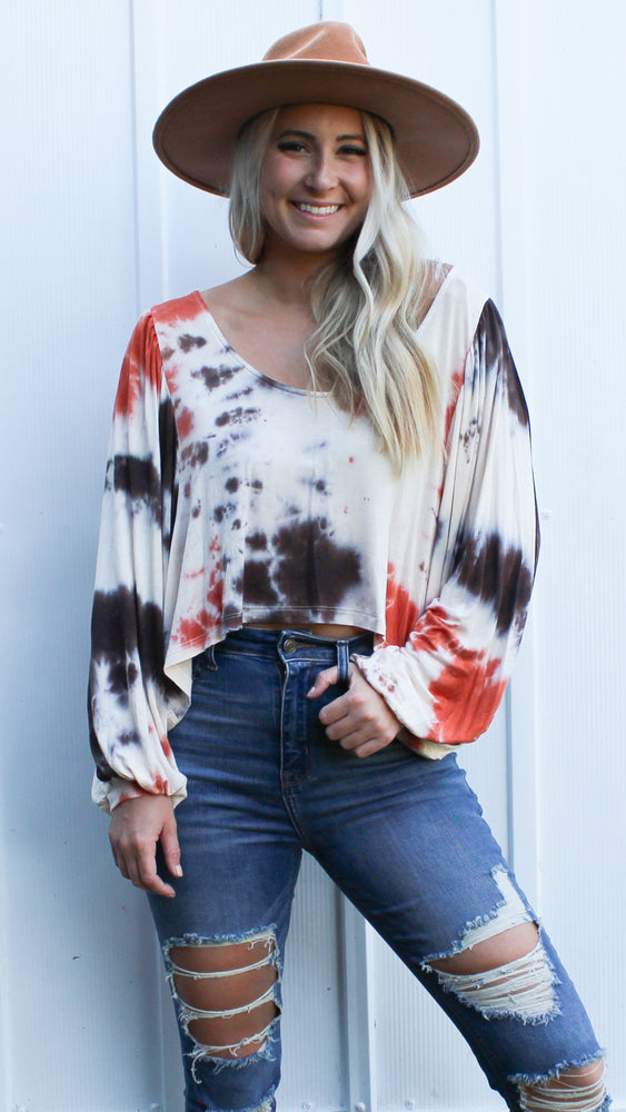 fall in love tie dye top [rust] - Grace and Edge Boutique