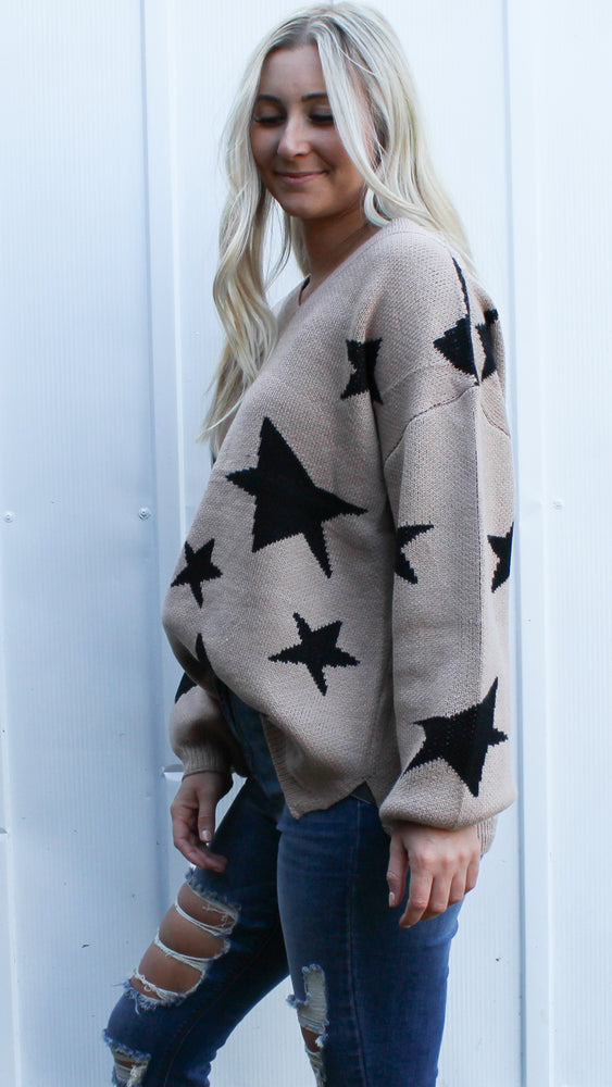 shoot for the stars sweater [taupe] - Grace and Edge Boutique