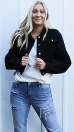 call me chic cropped denim jacket [black] - Grace and Edge Boutique