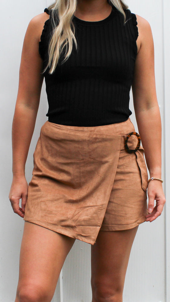 suede skort w/ tortoise buckle [camel] - Grace and Edge Boutique