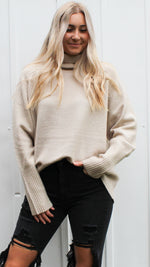 flirty flurries turtleneck sweater [alpaca] - Grace and Edge Boutique