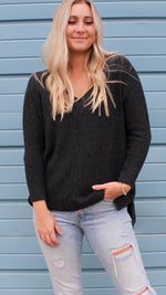 chasing dreams sweater [charcoal/black] - Grace and Edge Boutique
