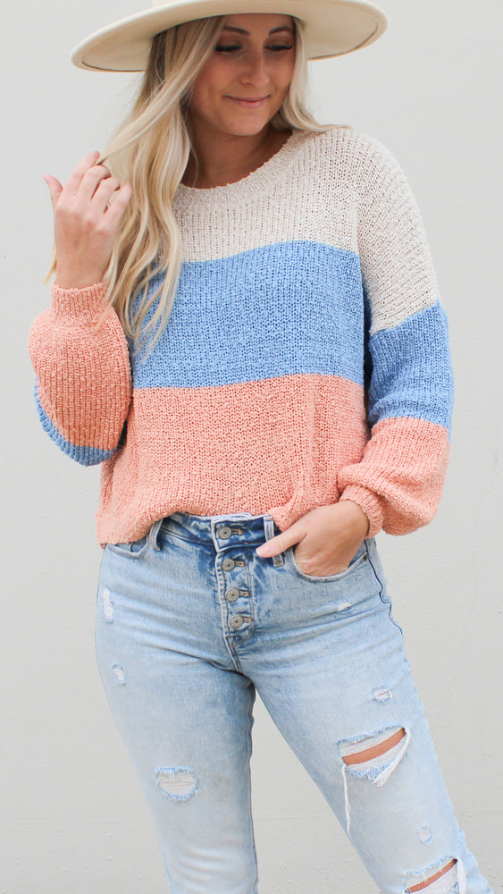 call me color block sweater - Grace and Edge Boutique