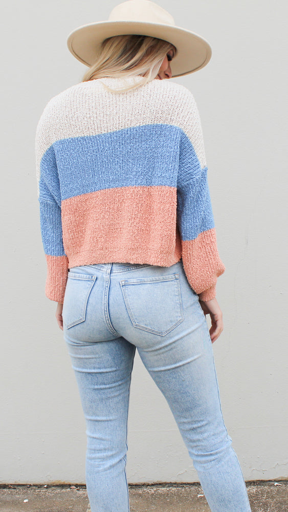 call me color block sweater