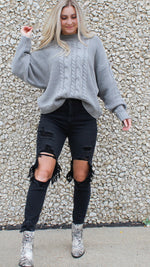 cable knit cutie [gray] - Grace and Edge Boutique