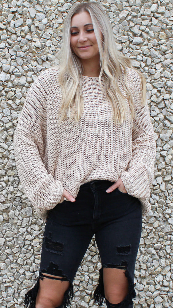 breezy nights oversized crochet sweater