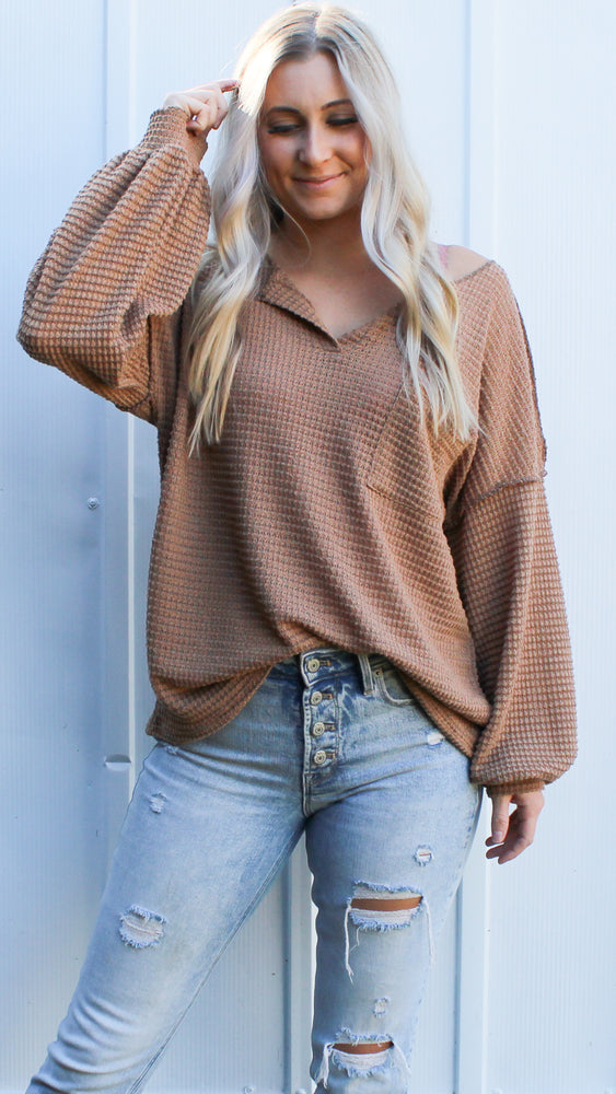 popcorn waffle knit [taupe] - Grace and Edge Boutique