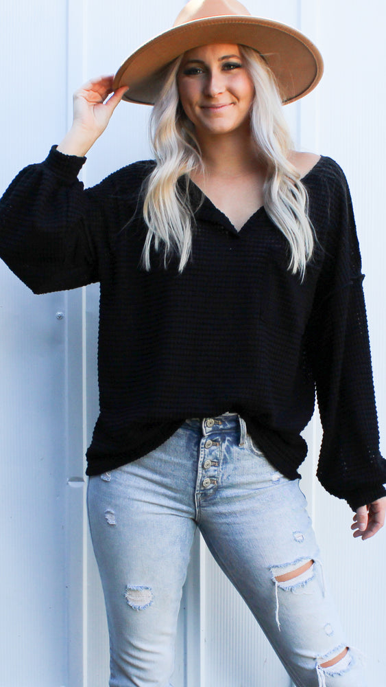 popcorn waffle knit [black] - Grace and Edge Boutique