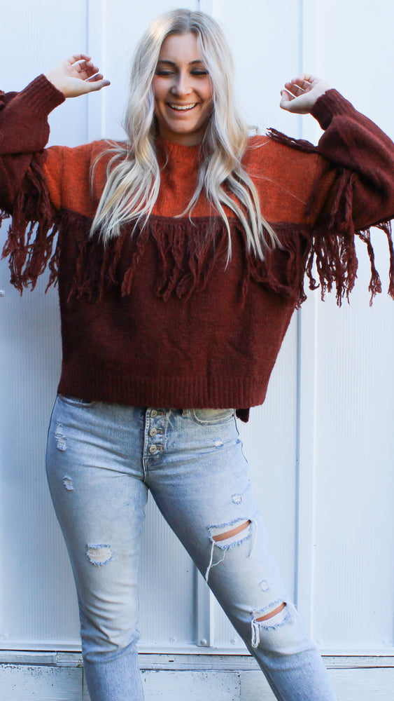 sugar & spice fringe sweater [rust] - Grace and Edge Boutique
