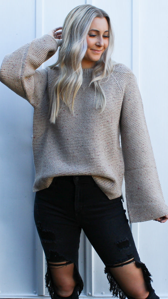 dear fall sweater [taupe] - Grace and Edge Boutique