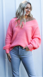 bright in breckenridge sweater [hot pink] - Grace and Edge Boutique
