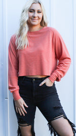 timeless traveling cropped waffle knit [rose] - Grace and Edge Boutique