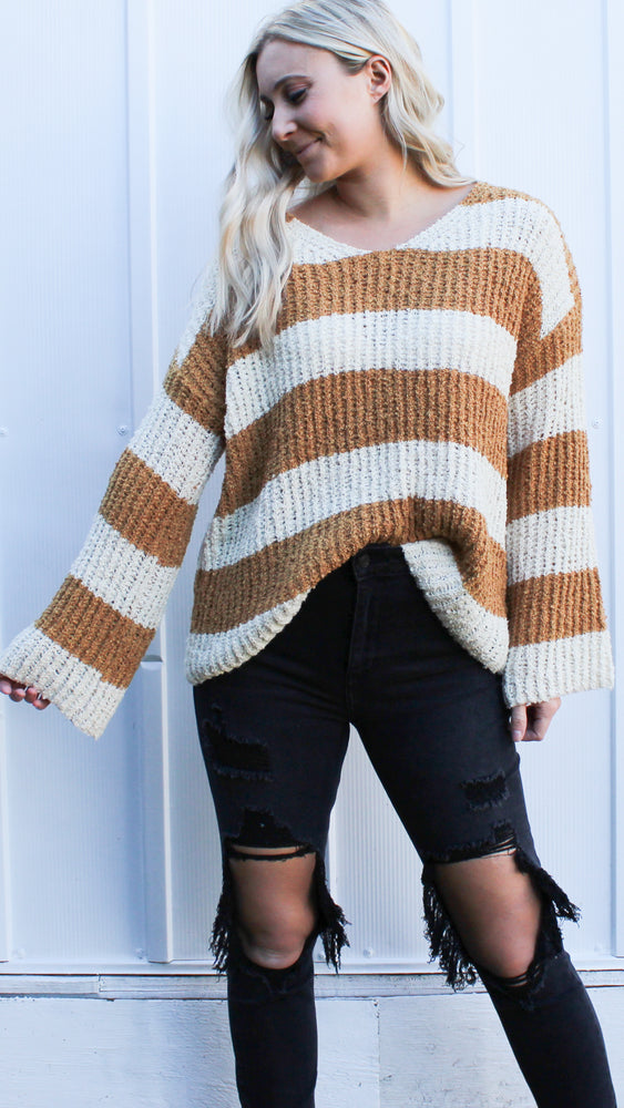around the block striped sweater [carmel] - Grace and Edge Boutique