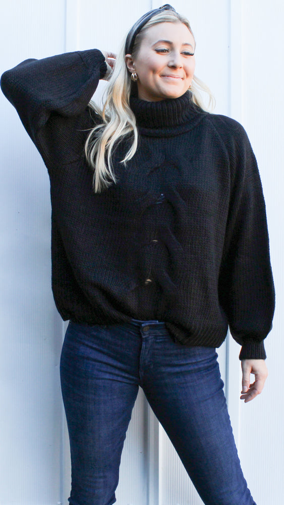 most likely to cuddle sweater [black] - Grace and Edge Boutique