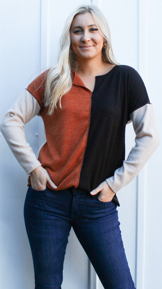 joy to the world top [rust/black]